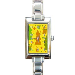 Christmas design - yellow Rectangle Italian Charm Watch