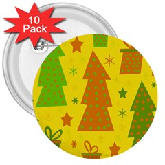 Christmas design - yellow 3  Buttons (10 pack)