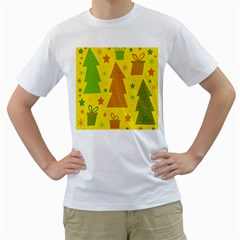 Christmas design - yellow Men s T-Shirt (White) (Two Sided)