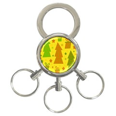 Christmas design - yellow 3-Ring Key Chains