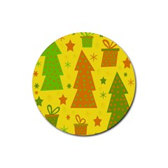 Christmas design - yellow Rubber Round Coaster (4 pack)
