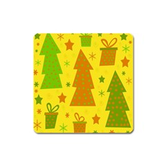 Christmas design - yellow Square Magnet