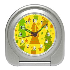 Christmas design - yellow Travel Alarm Clocks