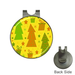 Christmas design - yellow Hat Clips with Golf Markers