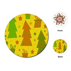 Christmas design - yellow Playing Cards (Round)