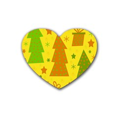 Christmas design - yellow Heart Coaster (4 pack)