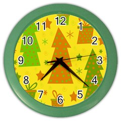 Christmas design - yellow Color Wall Clocks