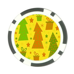 Christmas design - yellow Poker Chip Card Guards