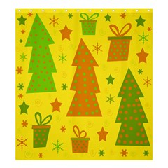 Christmas design - yellow Shower Curtain 66  x 72  (Large)
