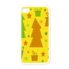 Christmas design - yellow Apple iPhone 4 Case (White)
