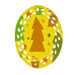 Christmas design - yellow Ornament (Oval Filigree)