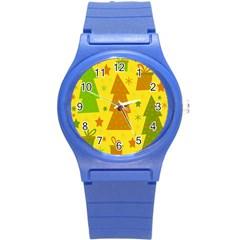 Christmas design - yellow Round Plastic Sport Watch (S)