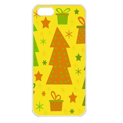 Christmas design - yellow Apple iPhone 5 Seamless Case (White)