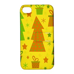 Christmas design - yellow Apple iPhone 4/4S Hardshell Case with Stand