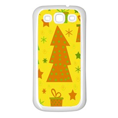 Christmas design - yellow Samsung Galaxy S3 Back Case (White)