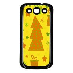 Christmas design - yellow Samsung Galaxy S3 Back Case (Black)