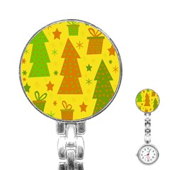 Christmas design - yellow Stainless Steel Nurses Watch