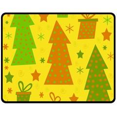 Christmas design - yellow Double Sided Fleece Blanket (Medium)