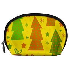 Christmas design - yellow Accessory Pouches (Large)