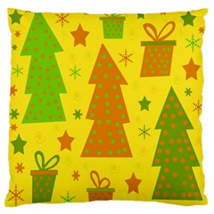 Christmas design - yellow Large Flano Cushion Case (One Side)