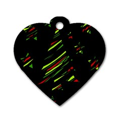 Abstract Christmas tree Dog Tag Heart (One Side)