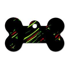 Abstract Christmas tree Dog Tag Bone (Two Sides)