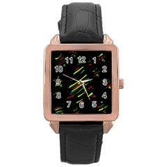 Abstract Christmas tree Rose Gold Leather Watch