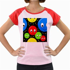 Smiley faces pattern Women s Cap Sleeve T-Shirt