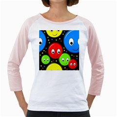Smiley faces pattern Girly Raglans