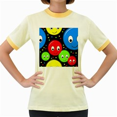 Smiley faces pattern Women s Fitted Ringer T-Shirts