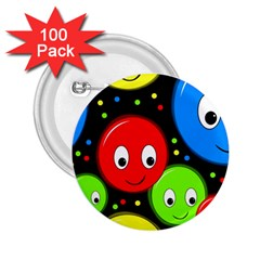 Smiley faces pattern 2.25  Buttons (100 pack)