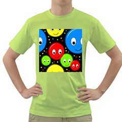 Smiley faces pattern Green T-Shirt