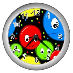 Smiley faces pattern Wall Clocks (Silver)