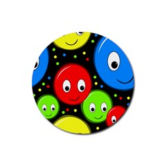 Smiley faces pattern Rubber Round Coaster (4 pack)