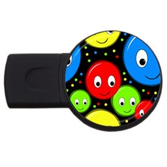 Smiley faces pattern USB Flash Drive Round (2 GB)