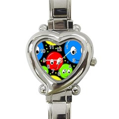 Smiley faces pattern Heart Italian Charm Watch