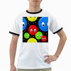 Smiley faces pattern Ringer T-Shirts