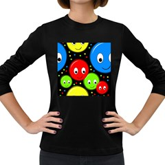 Smiley faces pattern Women s Long Sleeve Dark T-Shirts