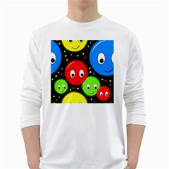 Smiley faces pattern White Long Sleeve T-Shirts