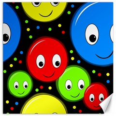 Smiley faces pattern Canvas 16  x 16