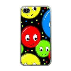 Smiley faces pattern Apple iPhone 4 Case (Clear)