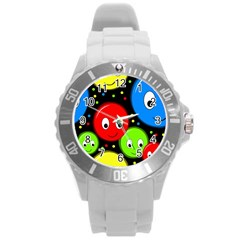 Smiley faces pattern Round Plastic Sport Watch (L)