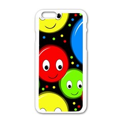 Smiley faces pattern Apple iPhone 6/6S White Enamel Case
