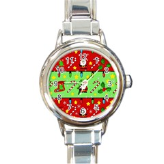 Christmas pattern - green and red Round Italian Charm Watch