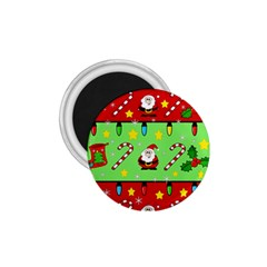 Christmas pattern - green and red 1.75  Magnets