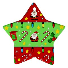 Christmas pattern - green and red Ornament (Star)