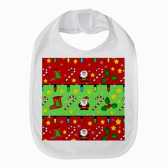 Christmas pattern - green and red Bib