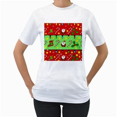 Christmas pattern - green and red Women s T-Shirt (White) (Two Sided)