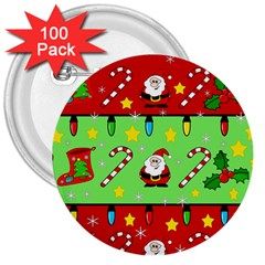 Christmas pattern - green and red 3  Buttons (100 pack)