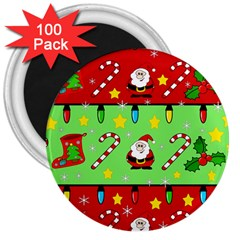 Christmas pattern - green and red 3  Magnets (100 pack)